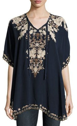 Johnny Was Egypt Embroidered Eyelet Poncho, Navy, Plus Size $275 thestylecure.com