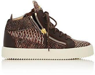 Giuseppe Zanotti Women's Double-Zip Mid-Top Sneakers-BROWN $795 thestylecure.com