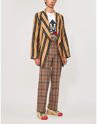 Gucci Striped belted silk-twill jacket