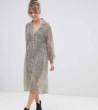 bd75ee02e0b Pull Bear sheer shirt dress in leopard print