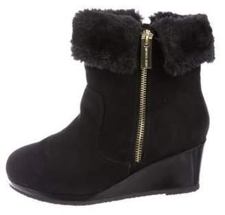 Michael Kors Girls' Suede Faux Fur-Trimmed Boots black Girls' Suede Faux Fur-Trimmed Boots
