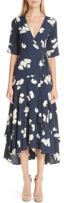 Ganni Silvery Crepe Wrap Dress