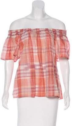 Ulla Johnson Plaid Print Short Sleeve Top w/ Tags