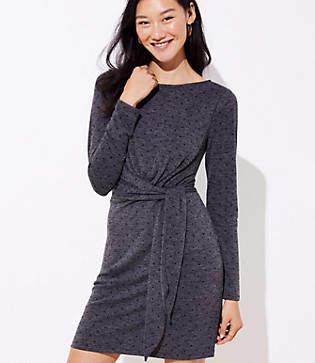 LOFT Petite Dotted Wrap Dress