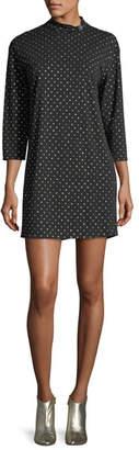 Marc Jacobs Mock-Neck 3/4-Sleeve Polka-Dot Dress