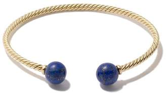 David Yurman 18kt yellow gold Solari lapis lazuli bead cuff bracelet