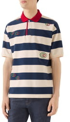 Gucci Logo Embroidered Stripe Short Sleeve Pique Polo