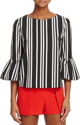 Alice + Olivia Bernice Striped Ruffle-Sleeve Top $250 thestylecure.com