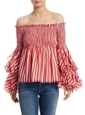 Caroline Constas Alessandra Striped Smocked Top
