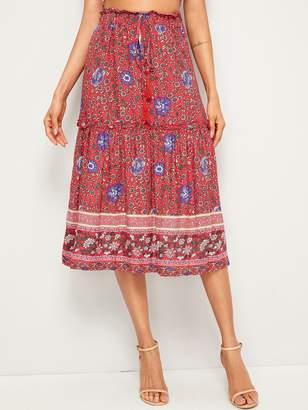 1cfbd78c80 Shein Ditsy Floral Frill Trim Drawstring Waist Skirt