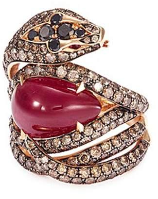 Stephen Webster Diamond ruby 18k rose gold snake ring