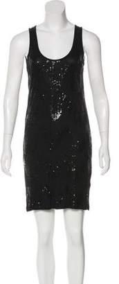 Velvet Embellished Sleeveless Mini Dress
