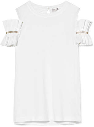 Brunello Cucinelli Cold-shoulder Embellished Cotton-jersey Top - White