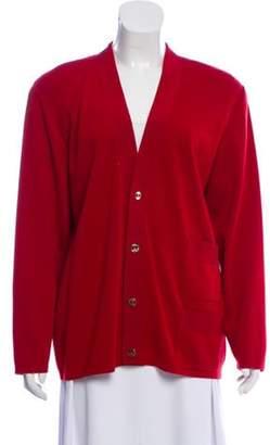 Salvatore Ferragamo Wool V-Neck Cardigan Red Wool V-Neck Cardigan