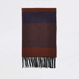 River Island Dark red check blanket scarf