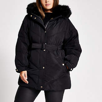 River Island Plus black faux fur hood belted puffer coat