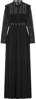 Self-Portrait Guipure Lace And Crepe Maxi Dress - Black