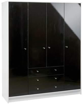 HOME Malibu 4 Door 3 Drawer Wardrobe - Black Gloss & White