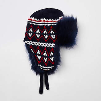 River Island Navy knit faux fur trapper
