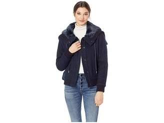 Juicy Couture Hard Woven Boucle Jacket w/ Faux Fur Hood Women's Coat