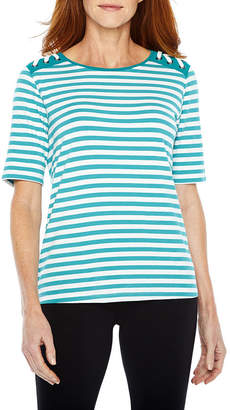 Sag Harbor Practice Gear Elbow Sleeve Crew Neck Stripe T-Shirt-Womens