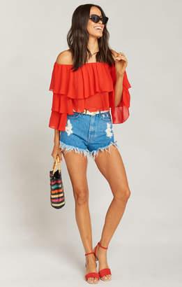 66c2dc0399a253 Show Me Your Mumu Copacabana Crop Top ~ Tomato Red Chiffon