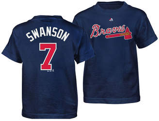 Majestic Dansby Swanson Atlanta Braves Official Player T-Shirt, Little Boys (4-7)