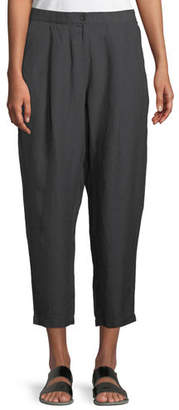 Eileen Fisher Organic Linen-Crepe Pleated Ankle Trouser Pants, Plus Size