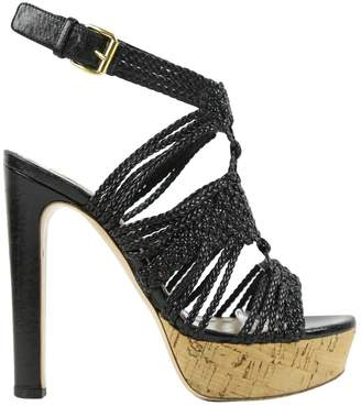 Miu Miu Black Leather Sandals