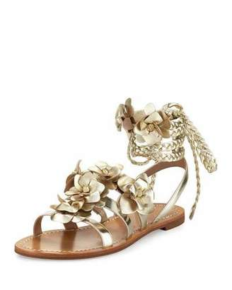 Tory Burch Blossom Leather Gladiator Sandal, Gold $295 thestylecure.com