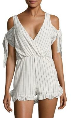 Striped Cold Shoulder Romper $90 thestylecure.com