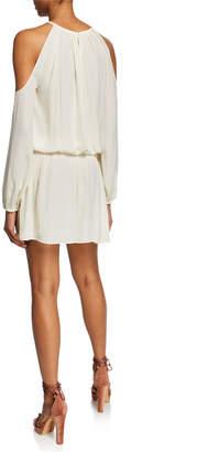 Ramy Brook Tech Cutout Cold-Shoulder Smocked Dress