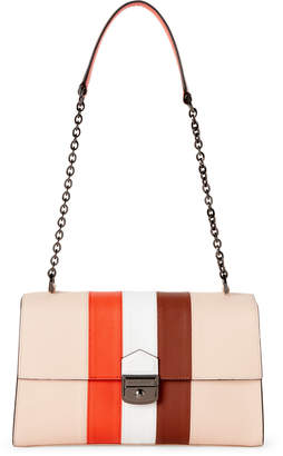 Longchamp Nude Striped Leather Shoulder Bag