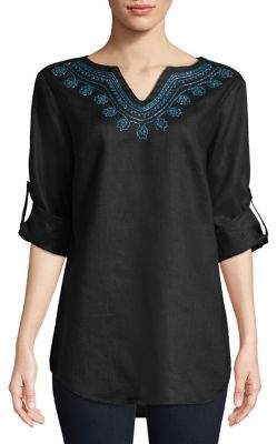 Lord & Taylor Petite Embroidered Linen Tunic