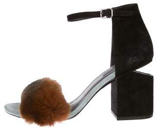 Alexander Wang Fox Fur-Trimmed Ankle Strap Sandals