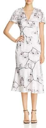 Elie Tahari Niki Floral Midi Dress