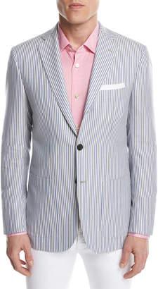 Kiton Striped Cashmere Two-Button Sport Coat, Blue/White