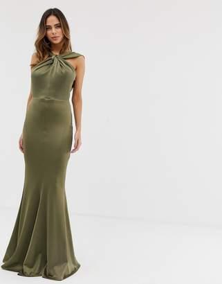 Asos Design DESIGN halter neck maxi dress with fishtail skirt