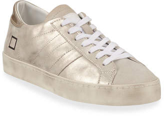 D.A.T.E Hill Low-Top Metallic Leather Sneakers