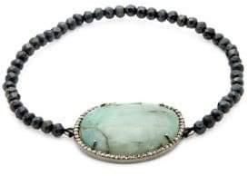Black Spinel Emerald & Champagne Diamond Pendant Bracelet