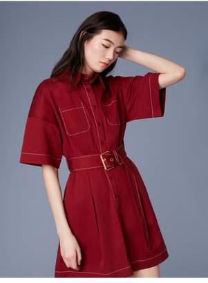Diane von Furstenberg Short-Sleeve Button-Up Belted Cotton Shirt Dress