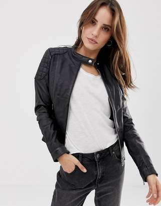 Goosecraft Collarless Leather Jacket with Diamond Quilt Detail