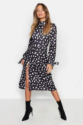 boohoo Thigh Split High Neck Fit + Flare Midi Dress