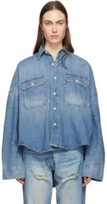 R 13 Blue Denim Oversized Patti Shirt