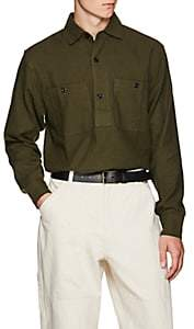 Margaret Howell Men's Cotton-Blend Twill Shirt - Dk. Green