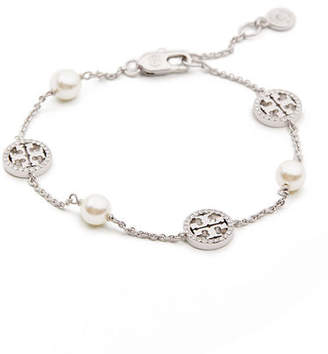 Tory Burch Crystal & Pearly Delicate Logo Bracelet