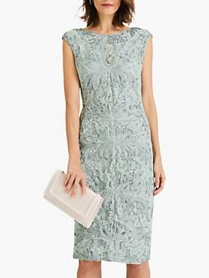 Phase Eight Paige Tapework Pencil Dress, Mint Green