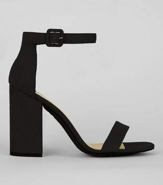 New Look Black Suedette Barely There Block Heels