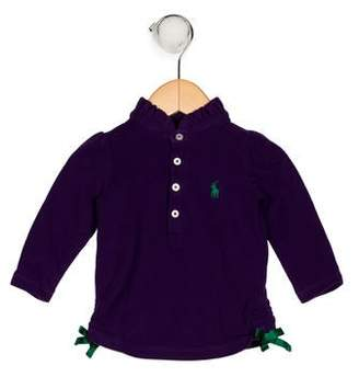 Ralph Lauren Girls' Ruffle Collared Top