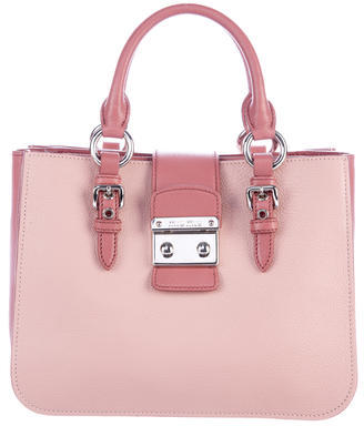 Miu Miu Miu Miu Pebbled Leather Satchel